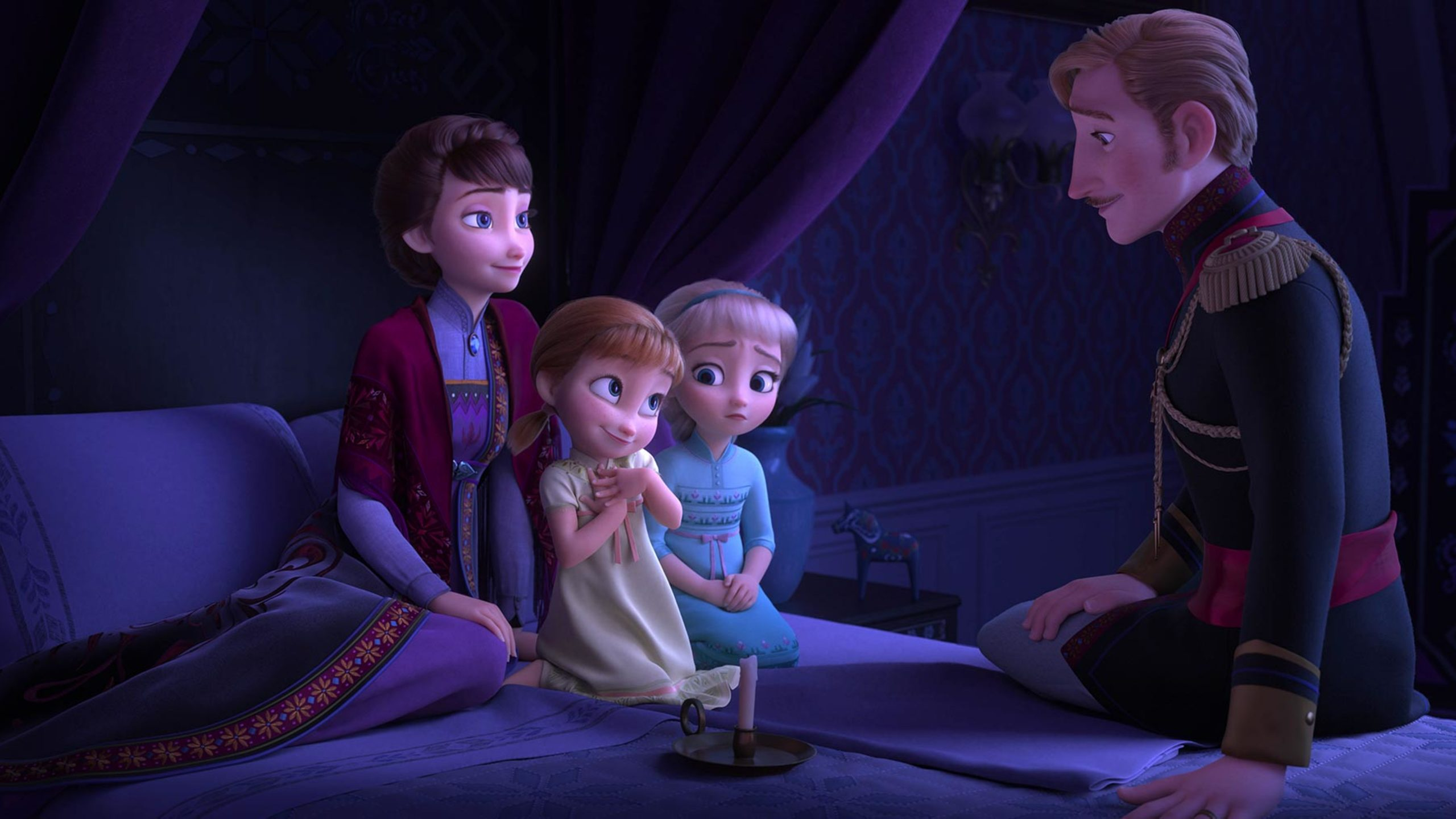 frozen 2 scene anna and elsa with parents 5120x2880