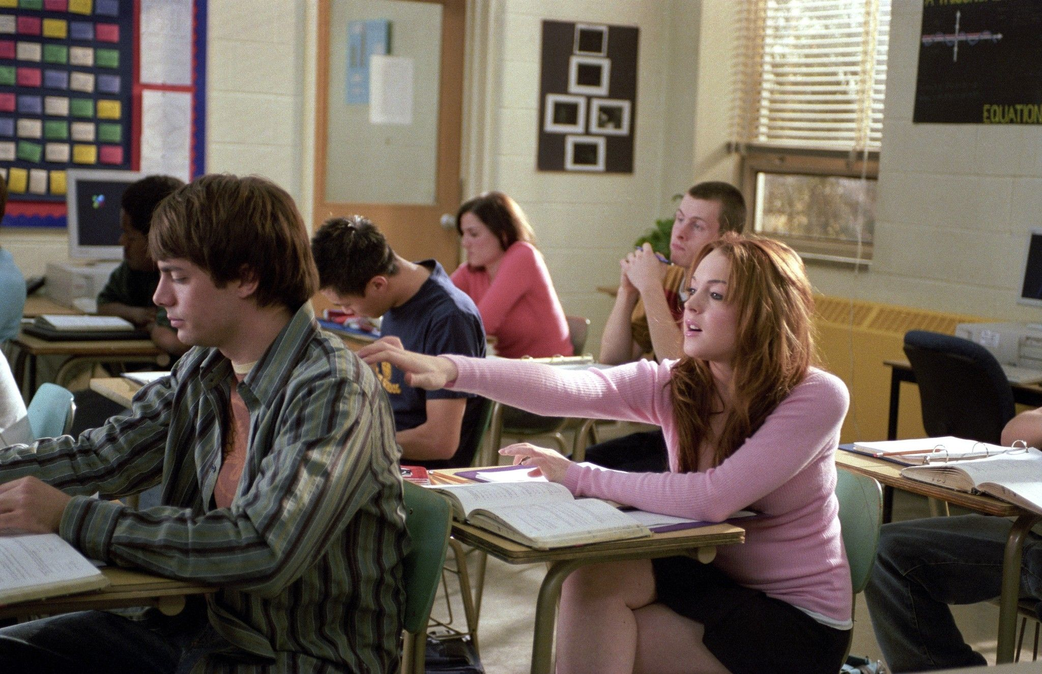 nrm 1421696599 mean girls in class cady and aaron lindsay lohan