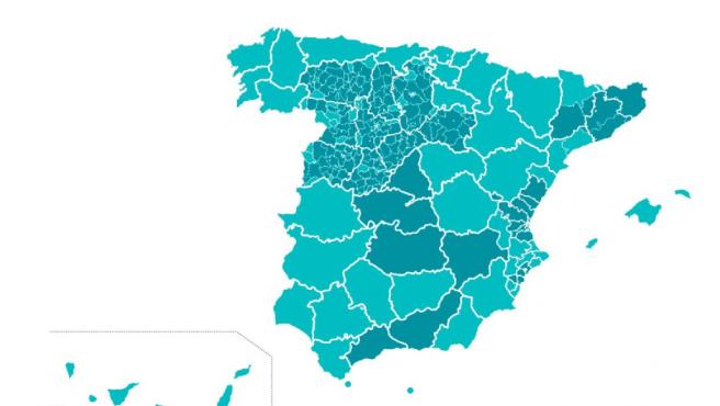 mapa de las provincias que pasan a fase 1 y las que no 1