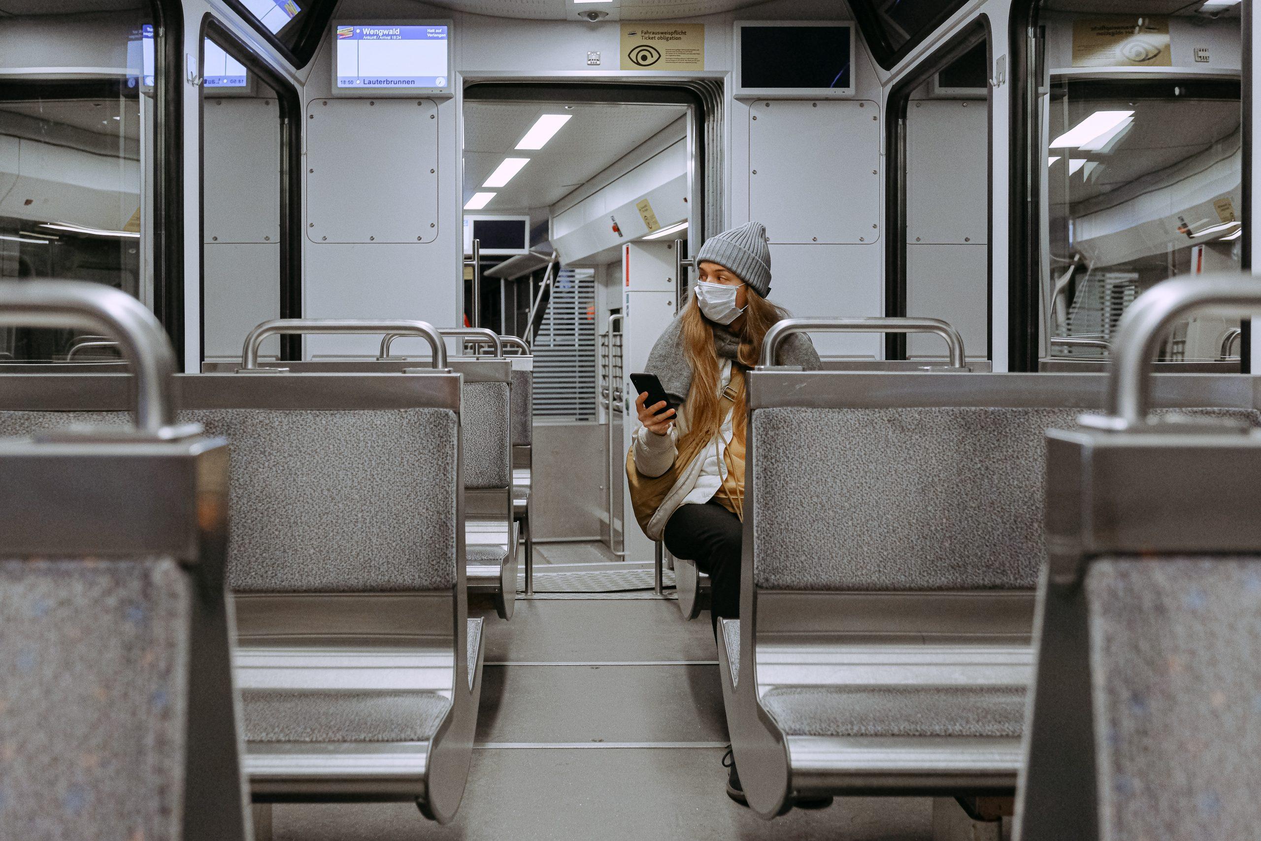 woman wearing mask on train 3962264